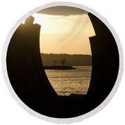Arcs Sunset Bernar Venet Sculpture Sunset Beach Park Vancouver Bc Canada Round Beach Towel