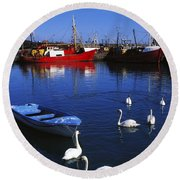 Ardglass, Co Down, Ireland Swans Near Round Beach Towel