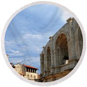 Arena In Arle Provence France Round Beach Towel