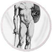 Ares, Greek God Of War Round Beach Towel