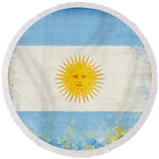 Argentina Flag Round Beach Towel