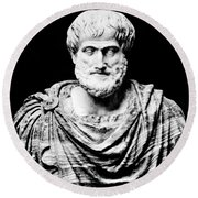 Aristotle, Ancient Greek Philosopher Round Beach Towel