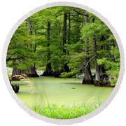 Arkansas Lake With Cypresses Round Beach Towel