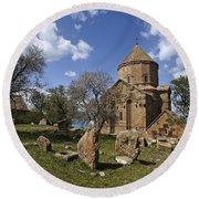 Armenian Church On Adkamar Island Round Beach Towel