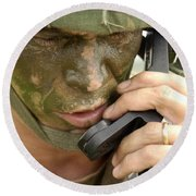 Army Master Sergeant Communicates Round Beach Towel