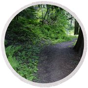 Around Another Bend In The Trail On Mt Spokane Round Beach Towel