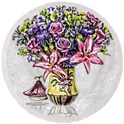 Arrangement In Pink And Purple On Rice Paper Round Beach Towel