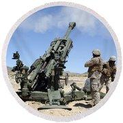 Artillerymen Fire-off A Round Round Beach Towel