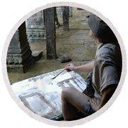 Artist At Ankor Wat Round Beach Towel