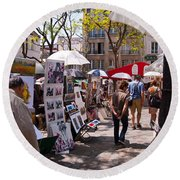 Artist Colony Of Montmartre Round Beach Towel