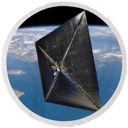 Artist Concept Of Nanosail-d In Space Round Beach Towel
