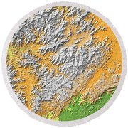 Artistic Map Of Southern Appalachia Round Beach Towel