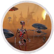 Artists Concept Of Life On Mars Long Round Beach Towel