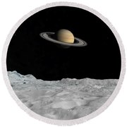Artists Concept Of Saturn As Seen Round Beach Towel