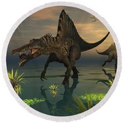 Artists Concept Of Spinosaurus Round Beach Towel