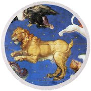 Artwork In Villa Farnese, Italy Round Beach Towel by Photo Researchers