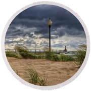 As The Storms Roll Through 2 Round Beach Towel