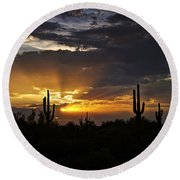 As The Sun Sets In The West  Round Beach Towel