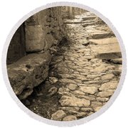 Ascent In Beynac France Round Beach Towel