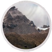 Ash And Gas Rising From Lava Dome Round Beach Towel by Richard Roscoe