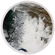 Ash Plume From Chaiten Volcano And Snow Round Beach Towel