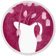 Ashes Of Roses Tulips Round Beach Towel