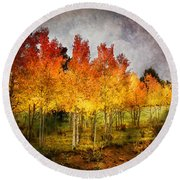 Aspen Grove In Autumn Round Beach Towel