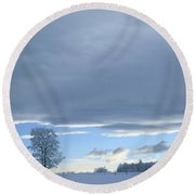 Aspen Tree And Winter Clouds Round Beach Towel