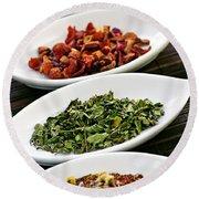 Assorted Herbal Wellness Dry Tea In Bowls Round Beach Towel