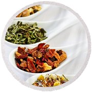 Assorted Herbal Wellness Dry Tea In Spoons Round Beach Towel