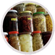 Assorted Spices Round Beach Towel by Carlos Caetano