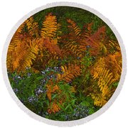 Asters And Ferns Round Beach Towel