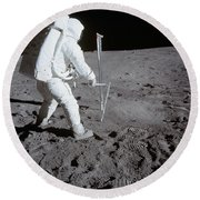 Astronaut During Apollo 11 Round Beach Towel