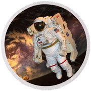 Astronaut In A Space Suit Round Beach Towel