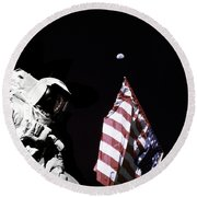 Astronaut Stands Next To The American Round Beach Towel