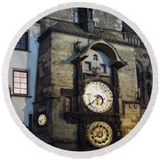 Astronomical Clock At Night Round Beach Towel
