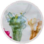 Asymetrical Flowers Round Beach Towel