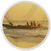 At Dawn In Puri Round Beach Towel