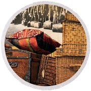At Ellis Island Round Beach Towel