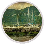 At Home In The Harbor - Atlantic Highlands  Nj Round Beach Towel
