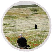 At Lachish's Magical Fields Round Beach Towel