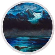 At Play Under The Glacier Round Beach Towel