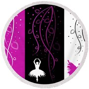 At The Ballet Triptych 2 Round Beach Towel