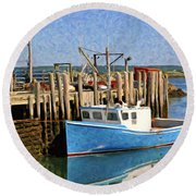 At The Dock Round Beach Towel