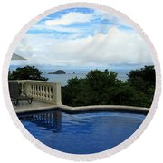 At The Edge Of The Ocean Round Beach Towel