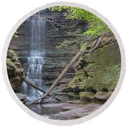 At The Falls Round Beach Towel
