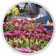 At The Farm Stand Round Beach Towel