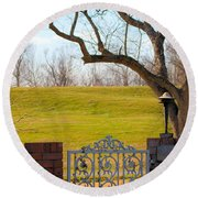 At The Levee Round Beach Towel