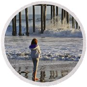 At The Pier Round Beach Towel