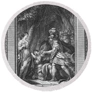 Atalanta And Meleager Round Beach Towel